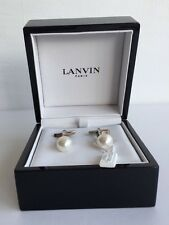 LANVIN Rhodium-Plated Sterling Silver Faux Pearl Cufflinks