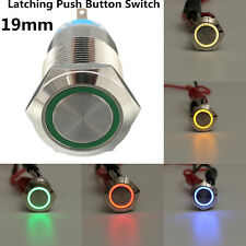 5 Pin 19mm LED Light Stainless Steel Push Button Latching Switch Waterproof 12V