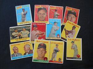 1958 Topps Baseball Card Lot 12 Willie Mays Ernie Banks Fox Lemon Snider HOF RC+
