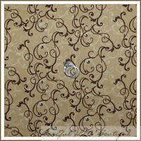 BonEful Fabric FQ Cotton Quilt Brown Tan Cream Flower Small Calico Scroll Swirl