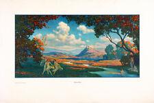 WARREN B. DAVIS Vintage c1920's Art Nouveau Style Chromolithograph GOLDEN DAYS