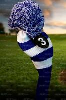 NEW BLUE WHITE KNIT hybrid headcover # 3 Rescue UTILITY golf club Head cover