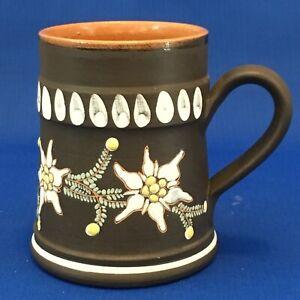 Liechtenstein Hand Made Clay Flowers Floral Mug EUC