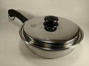"Saladmaster Frying Sauce Pan Skillet 9"" T304S Stainless Steel USA w/ Vapo Lid C2"