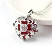 Hollow Heart Shape Flower Essential Oil Perfume Locket Necklace With Chain