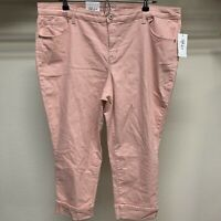 Style & Co Womens Plus Size 18W Stretch Peach Mid Rise Capri Cropped Cuffed