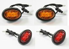 "Pair 3/4"" Bullet Amber & Red Round LED Light Clearance Side Marker Truck Trailer"