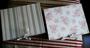 Two Simply Shabby Chic STORAGE BOXES, Floral Rose Flowers & Stripes, w/ Ribbons