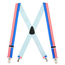 USA Stars And Stripes 1.5-Inch Small Pin Clip Suspenders