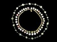 Lot of 3 Vintage Beaded Necklaces Clasp Closure Faux Pearls Pink Tones
