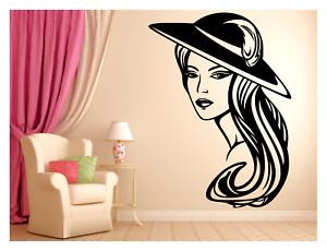 ELEGANT LADY WEARING HAT BEAUTY HAIR SALON SPA BEDROOM WALL DECAL MURAL 22X30in