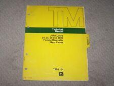 John Deere 34 35 38 3800 Forage Harvester Gear Cases Tech Manual Tm-1104 B8
