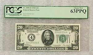 1928 $20 Federal Reserve Note PCGS 63 PPQ Choice New FR 2050-D