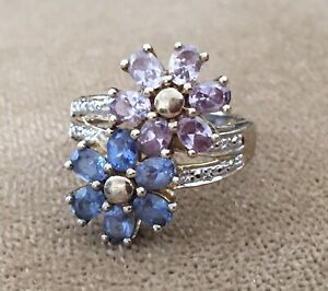 ✔️ Gold Plate & 925 STERLING SILVER Blue & Purple Floral Signed CRP Size 8 RING