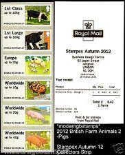 POST & GO 2012 suini British animali fattoria collezione STRISCIA 6 stampex MACHINE B1