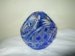 Lovely Cut To Clear Blue Crystal Basket