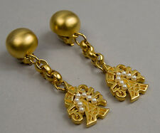 Vintage Signed GIVENCHY Designer Gold Tone Faux Pearl Dangle Clip On Earrings