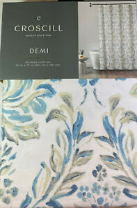 "Croscill Floral  Shower Curtain Demi/ Blue 100% Cotton 72"" x 72"""