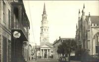 Charleston SC ??? Church Street Dock St. Theatre Real Photo Postcard
