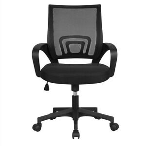 Adjustable Mid Back Mesh Swivel Office Chair with Armrests, Black