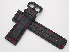 Watch Band Strap 28 mm (Black / Red) PVD Buckle For Seven Friday