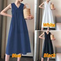 Womens Sleeveless Solid Midi Dress Casual Plain Holiday Dresses Loose Sundress