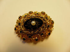 Vintage Sphinx Goldtone Brooch Pin - Ornate Oval Black Stones With Pearl - A829