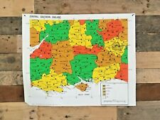 VINTAGE RNIB BRAILLE RELIEF MAP OF CENTRAL SOUTHERN ENGLAND SCHOOL BLIND POSTER