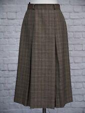 St Michael M&S Tweed Skirt 10 12 Beige Black Check Pleated Wool Preppy Vintage