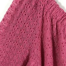 Tommy Hilfiger 1X Top Eyelet Blouse Pink Peony Plus Size Off The Shoulder Lined