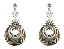 NEW MONSOON ACCESSORIZE LYRA CRYSTAL ETHNIC CHAIN STAR DANGLY STATEMENT EARRINGS