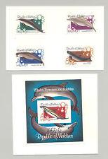 Maldives #985-989 Whales, Dolphins 4v & 1v S/S Imperf Proofs on 2v Cards