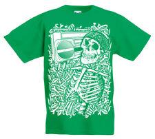 Esqueleto BOOMBOX Camiseta Niños AGE 5 -13 Años Niños CALAVERA ROCK REGALO Z1
