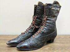 Antique Victorian Brown Leather Lace Up Granny Shoes Boots Witch High Top Tall