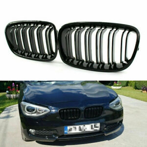 For BMW F20 F21 1-Series 11-14 Gloss Black Double Slat Front Grill Kidney Grille