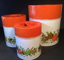 3 Vintage 70s Metal Canisters Orange Mushroom Vegetable Design Rustic MC Japan