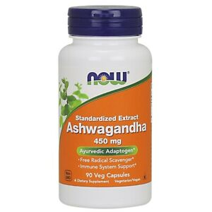 Now Foods Ashwagandha Ext 450Mg 90 Vcaps Made in USA FREE SHIPPING