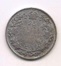 RARE 1936 DOT Canada Silver Twenty-five Cent--Nice Coin !!