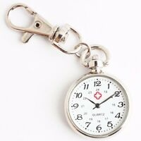 Mens Women Pocket Watch Keychain Key Ring Pendant Quartz Nurse Fob Clip Watch