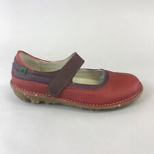 El Naturalista Red Leather Slip On Mary Jane Clogs Wedge Sandals Shoes 37 UK4