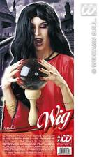 Long Black Wig Morticia Adams Witch Halloween Fancy Dress