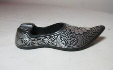 thick bronze sterling silver overlay ornate shoe shaped cigarette ashtray