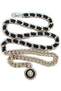 Women Black Hip Waist Fancy Fashion Belt Gold Metal Chain Lion Charm Size XS S M