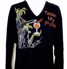 SMALL Black Top Halloween Rhinestone Embellished Witch Taste My Potion Top