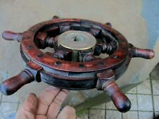 Vintage Wheel Nautical Ship Wooden Steering Boat Maritime Original Old Patina