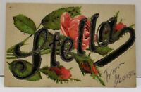 Stella Embossed Roses Glitter Decorated to Mellette South Dakota Postcard D7