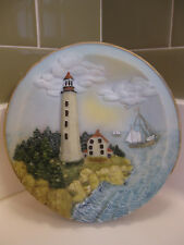 Sandy Hook Nj Lighthouse 3-D Lighted Plate Nightlight Lamp Vtg w Original Tag