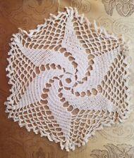 Antique Vtg Crochet Doily Center Piece Pin Wheel Sew Shabby Primitive Doll A41