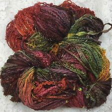 hand dyed art Yarn 150 yds hand tied multi fibers Surprise paprika cowl