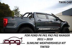 HIC Slimline Tinted Weathershield Kit for Ford Ranger Twincab PX PX3 Raptor